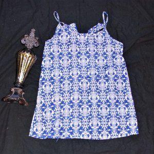 small womens pretty blue white bow tank top shirt
